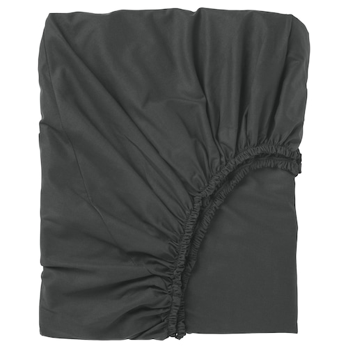 """DVALA fitted sheet black 152 square inches 74 """" 53 """" 10 """""""