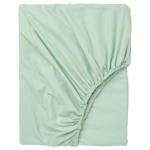 """DVALA fitted sheet light green 152 square inches 80 """" 76 """" 10 """""""