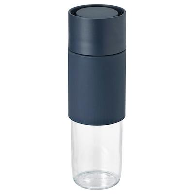 EFTERSTRÄVA Travel mug, clear glass/silicone, 17 oz