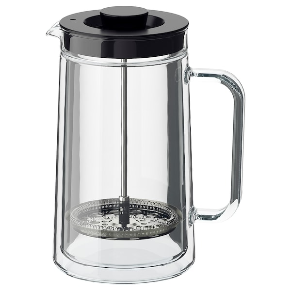 EGENTLIG French press coffee maker, double-walled/clear glass, 30 oz