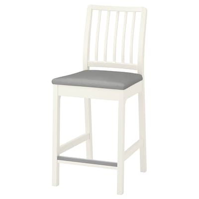 EKEDALEN Bar stool with backrest, white/Orrsta light gray, 24 3/8 ""