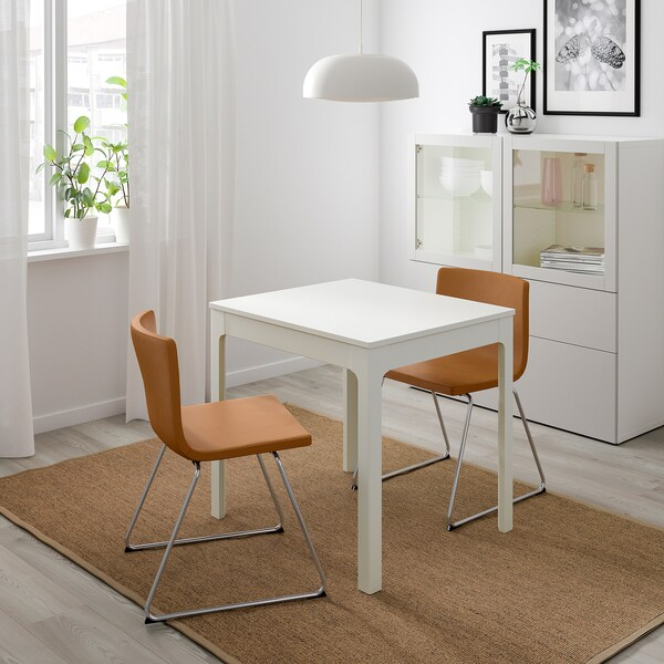 "EKEDALEN / BERNHARD table and 2 chairs white/Mjuk golden brown 31 1/2 "" 47 1/4 """