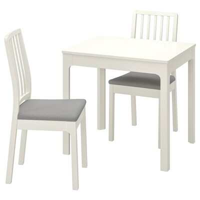 "EKEDALEN / EKEDALEN table and 2 chairs white/Orrsta light gray 31 1/2 "" 47 1/4 """
