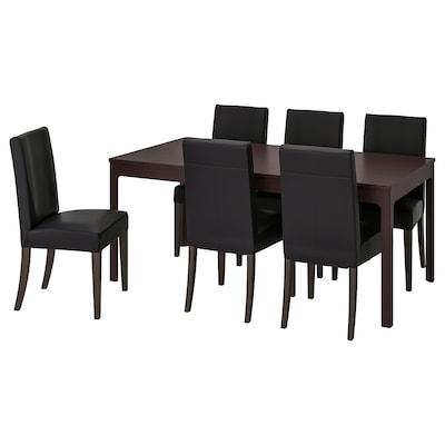 "EKEDALEN / HENRIKSDAL Table and 6 chairs, dark brown/Glose black, 70 7/8/94 1/2 """