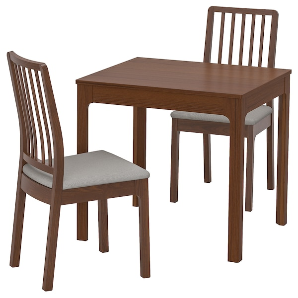"""EKEDALEN Table and 2 chairs, brown/Orrsta light gray, 31 1/2/47 1/4 """""""
