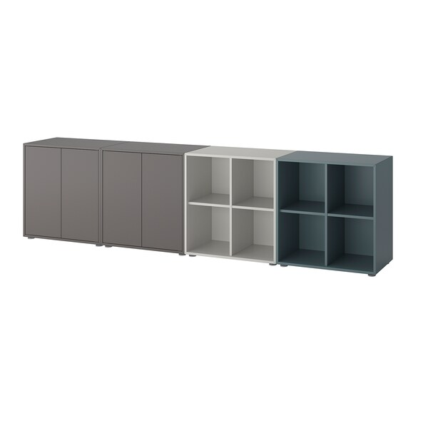 EKET Storage combination with feet, dark gray/light gray gray-turquoise, 110 1/4x13 3/4x28 3/8 ""
