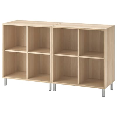 """EKET Storage combination with legs, white stained oak effect, 55 1/8x13 3/4x31 1/2 """""""
