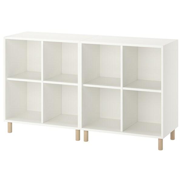 "EKET Storage combination with legs, white/wood, 55 1/8x13 3/4x31 1/2 """