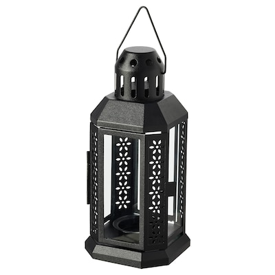 ENRUM Lantern f/tealight, indoor/outdoor, black, 8 ¾ ""