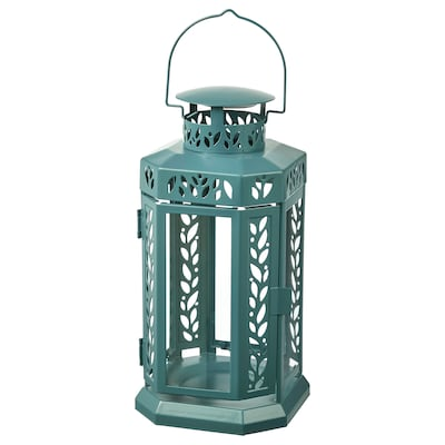 """ENRUM Lantern for candle, indoor/outdoor, turquoise, 11 """""""