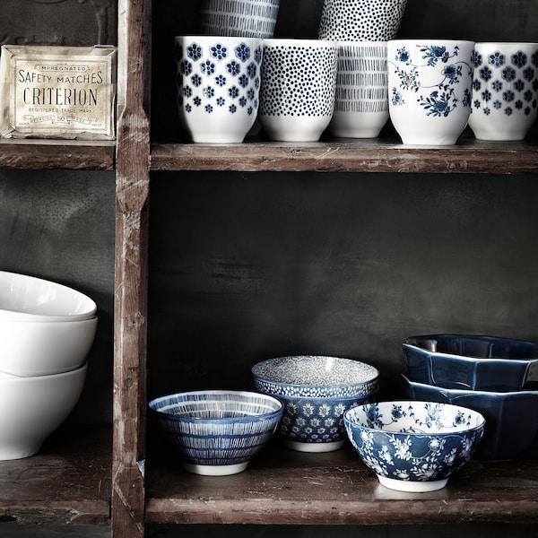 "ENTUSIASM Bowl, patterned/blue, 4 ½ """