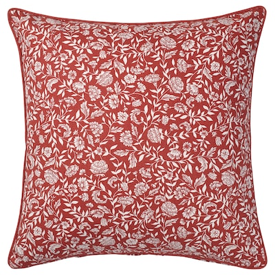 """EVALOUISE Cushion cover, red/white/floral patterned, 20x20 """""""
