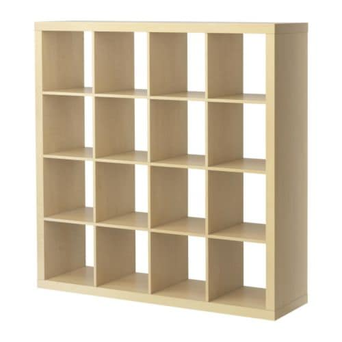 "EXPEDIT Bookcase, birch effect Width: 58 5/8 "" Depth: 15 3/8 "" Height: 58 5/8 "" Max load/shelf: 29 lb  Width: 149 cm Depth: 39 cm Height: 149 cm Max load/shelf: 13 kg"