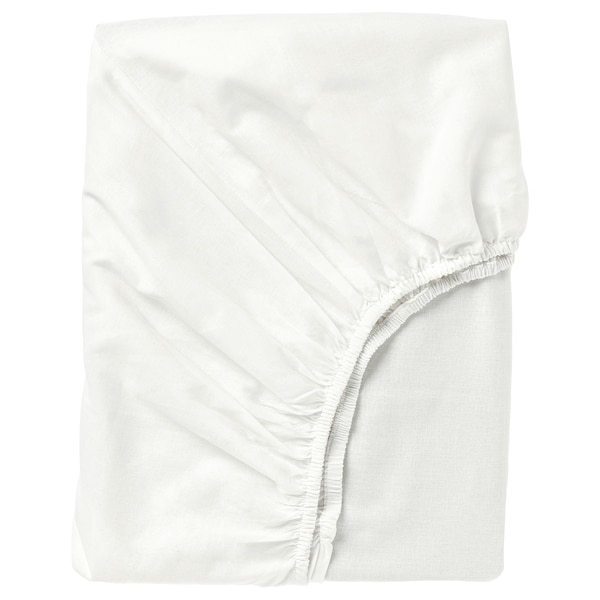 FÄRGMÅRA Fitted sheet, white, Full/Double