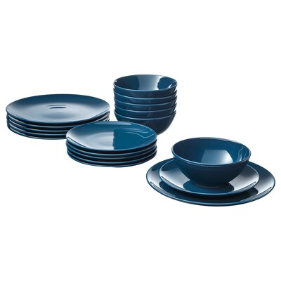 FÄRGRIK 18-piece dinnerware set dark turquoise