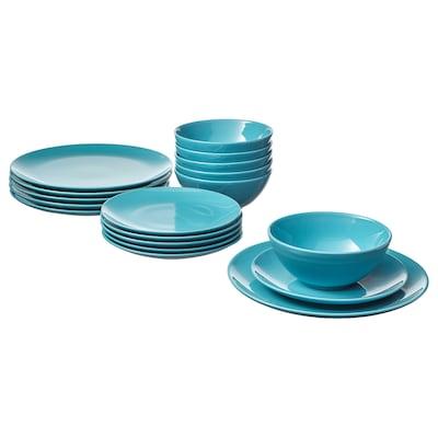 FÄRGRIK 18-piece dinnerware set turquoise