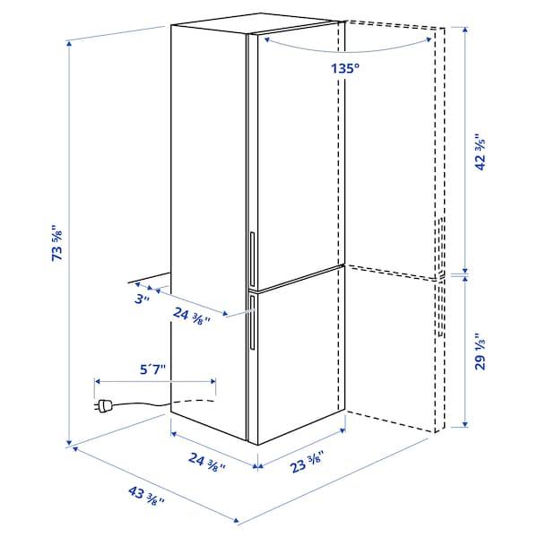 FÄRSKHET Bottom-freezer refrigerator, stainless steel color, 10.4 cu.ft