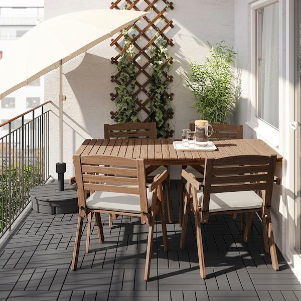 FALHOLMEN Table and 4 armchairs, outdoor, light brown stained/Frösön/Duvholmen beige