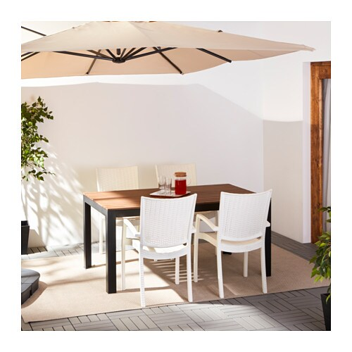 FALSTER / INNAMO Table And 4 Armchairs, Outdoor   Black Brown/white   IKEA