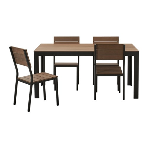 Falster table and 4 chairs outdoor black brown ikea for Ikea falster