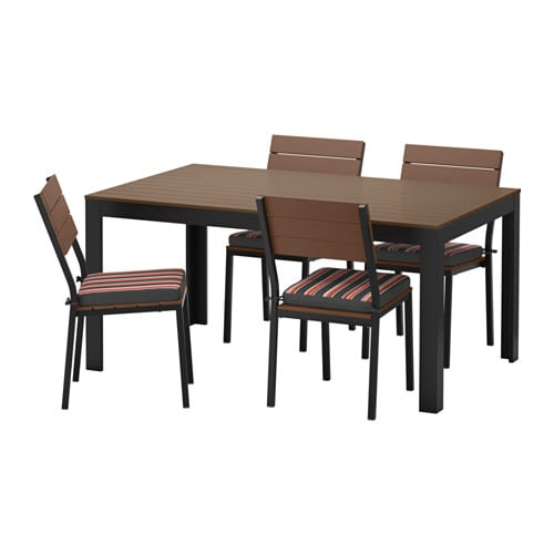 FALSTER Table And 4 Chairs Outdoor Falster Black Brown