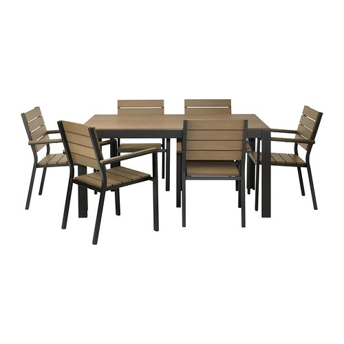 FALSTER Table+6 armchairs, outdoor   Polystyrene slats are weather-resistant and easy to care for.