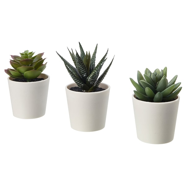 "FEJKA Artificial potted plant with pot, indoor/outdoor Succulent, 2 ¼ "" 3 pack"