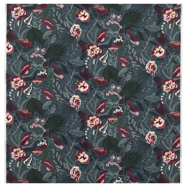 """FILODENDRON fabric dark blue/floral patterned 0.75 oz/sq ft 59 """" 11 """" 16.15 sq feet"""