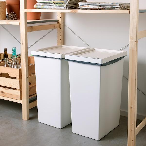 FILUR Bin with lid, white, 11 gallon