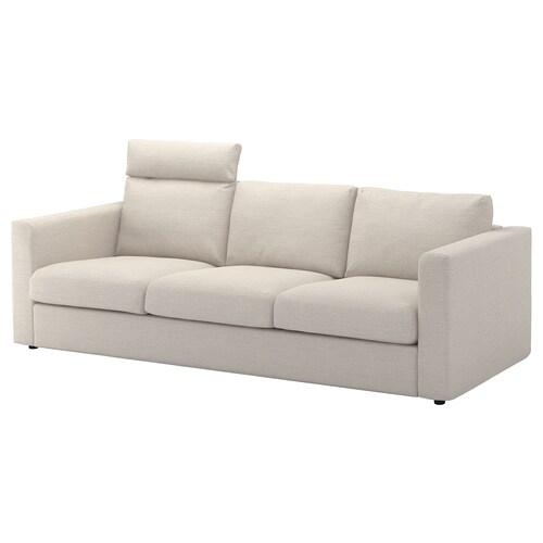 "FINNALA sofa with headrest/Gunnared beige 41 3/8 "" 33 1/2 "" 28 "" 94 7/8 "" 38 5/8 "" 2 3/8 "" 5 7/8 "" 28 "" 83 1/8 "" 21 5/8 "" 18 7/8 """