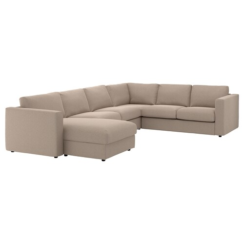 "FINNALA sectional, 5-seat corner with chaise/Tallmyra beige 33 1/2 "" 28 "" 64 5/8 "" 38 5/8 "" 49 1/4 "" 98 "" 75 5/8 "" 107 1/2 "" 129 7/8 "" 2 3/8 "" 5 7/8 "" 28 "" 21 5/8 "" 18 7/8 """