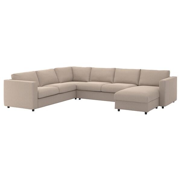 "FINNALA cover f/corner sleeper sofa, 5-seat with chaise/Tallmyra beige 20 7/8 "" 32 5/8 "" 26 3/4 "" 38 5/8 "" 95 5/8 "" 142 1/2 "" 98 "" 21 5/8 "" 18 7/8 "" 59 7/8 "" 79 1/2 "" 4 3/4 """
