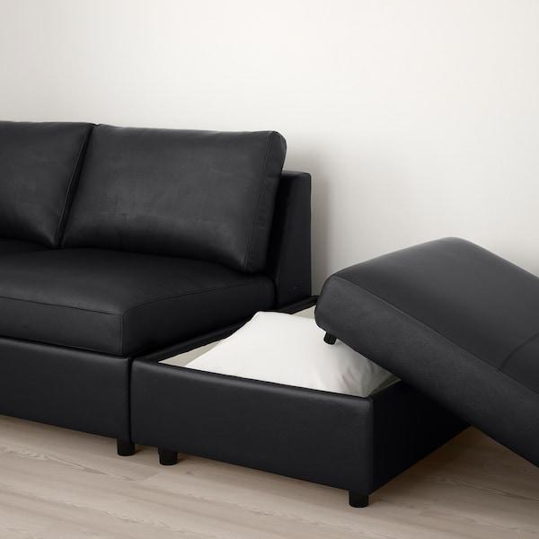 FINNALA Sectional, 4-seat corner, with open end/Grann/Bomstad black