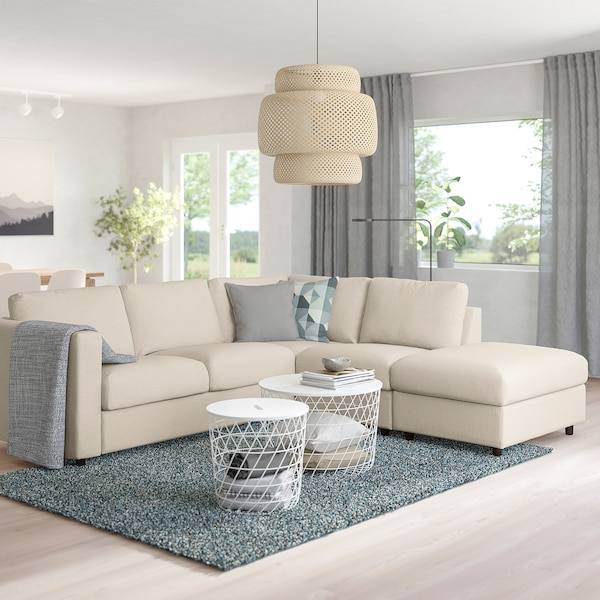 FINNALA Sectional, 4-seat corner, with open end/Gunnared beige