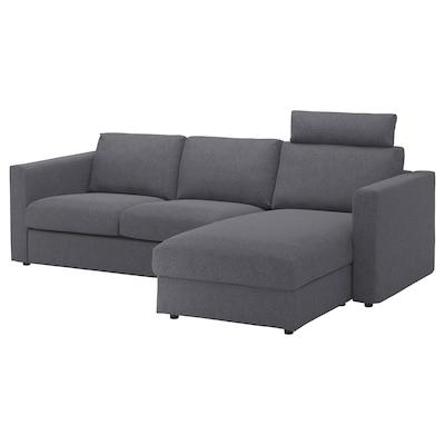 FINNALA Sofa, with chaise with headrest/Gunnared medium gray
