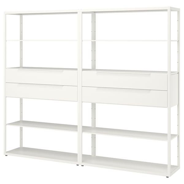 "FJÄLKINGE Shelf unit with drawers, white, 92 7/8x13 3/4x76 """