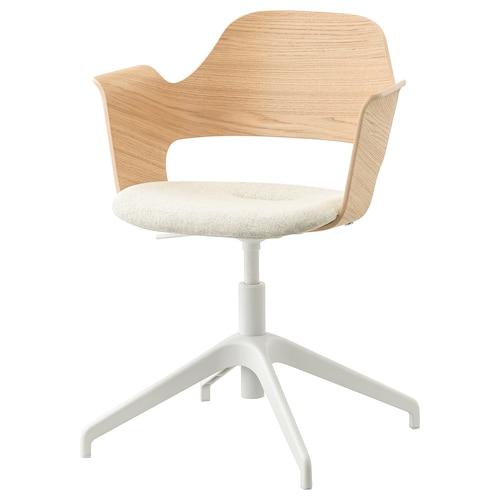 "FJÄLLBERGET conference chair white stained oak veneer/Gunnared beige 242 lb 8 oz 26 3/8 "" 26 3/8 "" 33 7/8 "" 16 1/2 "" 15 3/4 "" 16 7/8 "" 22 """
