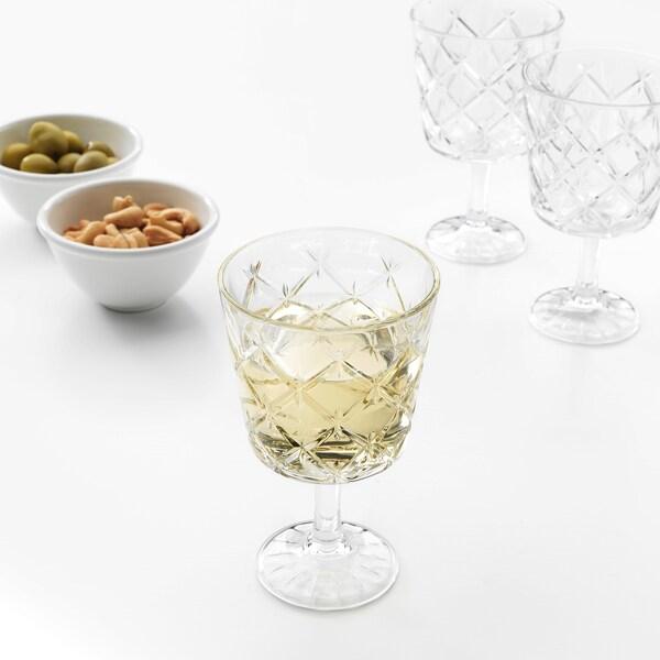 "FLIMRA goblet clear glass/patterned 5 "" 8 oz"