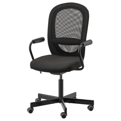 """FLINTAN / NOMINELL office chair with armrests black 242 lb 8 oz 29 1/8 """" 27 1/8 """" 40 1/8 """" 44 7/8 """" 18 1/2 """" 18 7/8 """" 18 1/2 """" 23 5/8 """""""