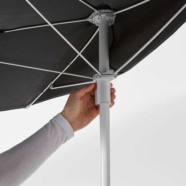 FLISÖ Patio umbrella, black, 63x39 3/8 ""