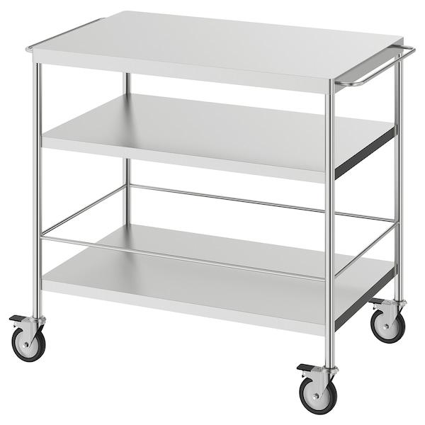 "FLYTTA kitchen cart stainless steel 110 lb 38 5/8 "" 22 1/2 "" 33 7/8 """