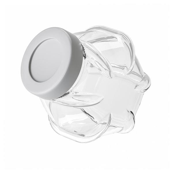 FÖRVAR Jar with lid, glass/aluminium-colour, 61 oz