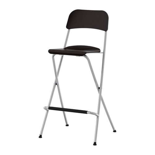 "FRANKLIN Bar stool with backrest, foldable, brown-black, silver color Width: 20 1/2 "" Depth: 17 3/8 "" Height: 40 1/2 "" Seat width: 13 3/8 "" Seat depth: 13 3/8 "" Seat height: 29 1/8 ""  Width: 52 cm Depth: 44 cm Height: 103 cm Seat width: 34 cm Seat depth: 34 cm Seat height: 74 cm"