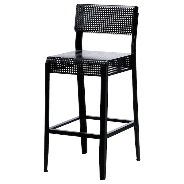 "FREKVENS bar stool with backrest, in/outdoor black 220 lb 16 7/8 "" 20 7/8 "" 41 "" 16 1/2 "" 15 3/4 "" 29 1/8 """