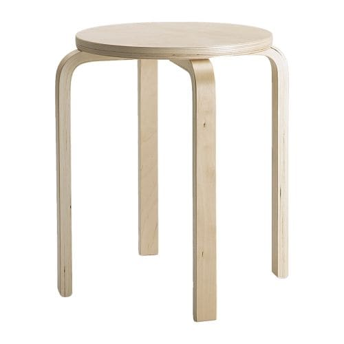 FROSTA Stool   The stool can be stacked, so you can keep several on hand and store them in the same space as one.