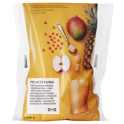 FRUKTSTUND Pre-blended smoothie mix, mango/pineapple with sea buckthorn/frozen, 1 lb