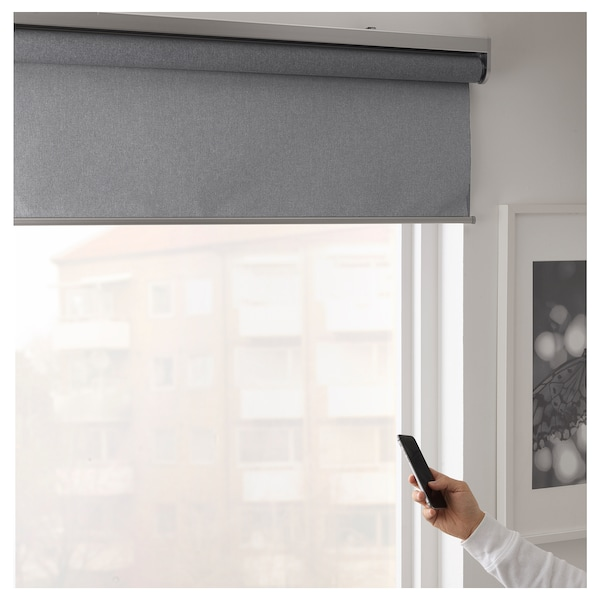 FYRTUR Blackout roller blind, wireless/battery operated gray, 38x76 ¾ ""