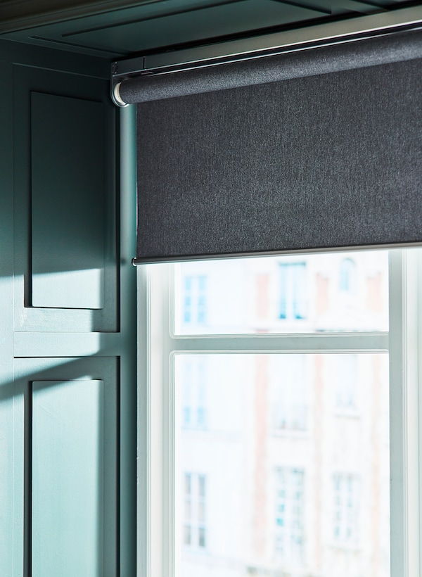 """FYRTUR Blackout roller blind, wireless/battery operated gray, 38x76 ¾ """""""