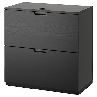 "GALANT Drawer unit/drop file storage, black stained ash veneer, 31 1/2x31 1/2 """
