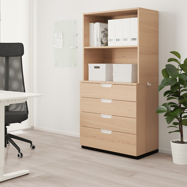 """GALANT Storage combination with drawers, white stained oak veneer, 31 1/2x63 """""""